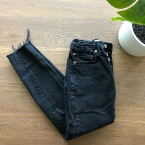 Free People High Rise Black Skinny Jeans